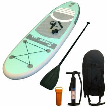 8' - 243cm INFLATABLE SUP STAND UP PADDLE BOARD bag-paddle-pump-leash-fins-kit